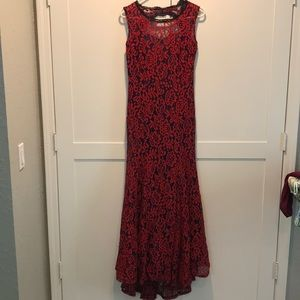Red/Navy lace gown